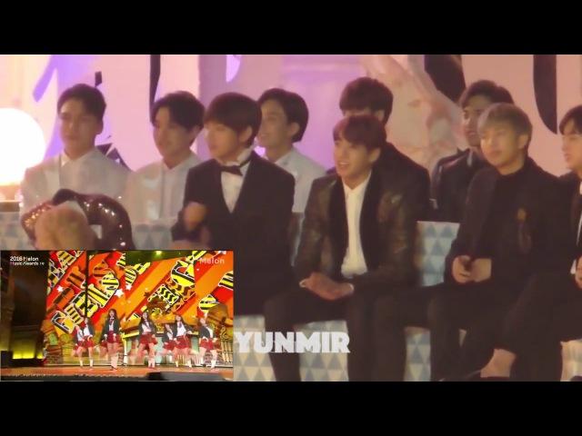 161119 BTS SEVENTEEN reaction to IOI performance (Melon Music Award MMA 2016) [HD Fancam]