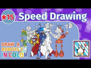 Speed Drawing: Robots 2/ Рисуем роботов/Раскрашивание /Sketch to vector/ Speedpaint Inkscape/Color