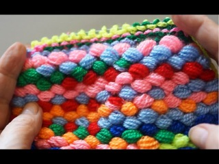 Коврик из самодельной помпонной пряжи (mat homemade yarn pom-poms)