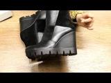 Ботинки кожаные с замшей на танкетке