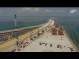 Крымский мост с высоты׃ стройка от Тамани до Керчи