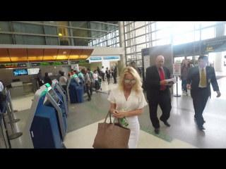 Pamela Anderson is seen at LAX on April 25, 2017 in Los Angeles, California.