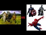 3 богатыря против супергероев DC Marvel