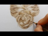 Tutorial How to draw realistic blonde hair with colored pencils Emmy Kalia