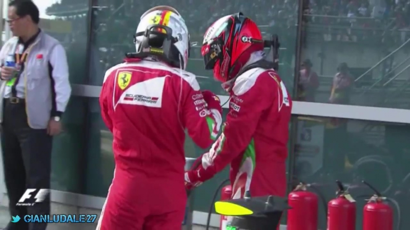 Kimi and Seb in parc fermé after the Chinese GP