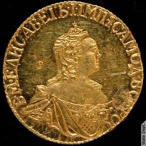 Елизавета I, золотой рубль, 1756