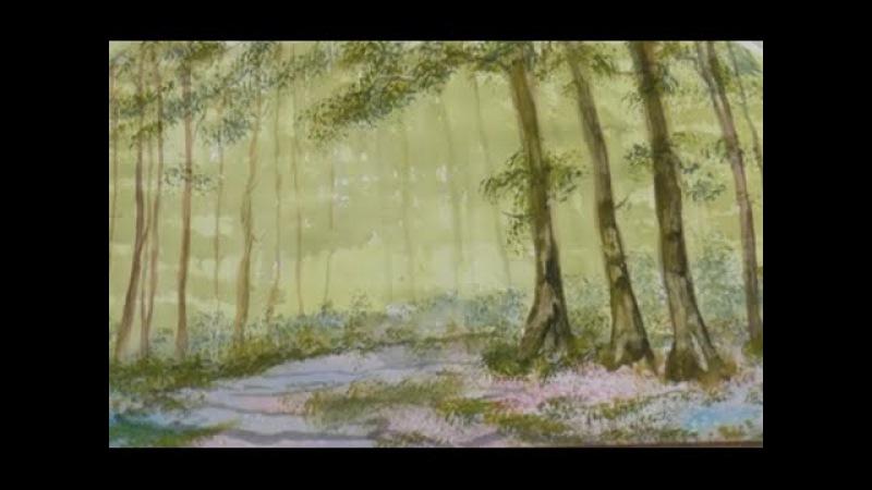 Рисуем Лесной массив губкой за минуту. Интересная техника. Bluebell wood, using sponge