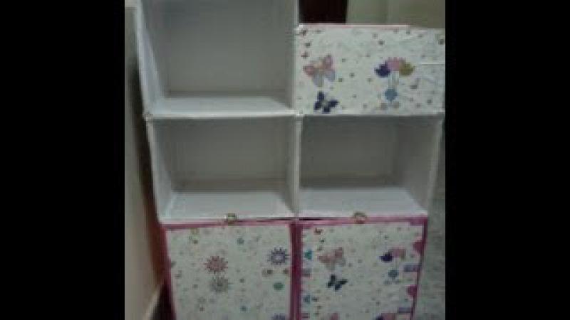 Fácil Estantería infantil para libros y útiles de escritorio hecho con cajas de cartón