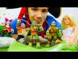 Черепашки-НИНДЗЯ против ПИРАТА! Спасение РУСАЛКИ! Видео с игрушками для детей