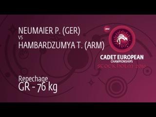 Repechage GR - 76 kg: P. NEUMAIER (GER) df. T. HAMBARDZUMYA (ARM), 2-1