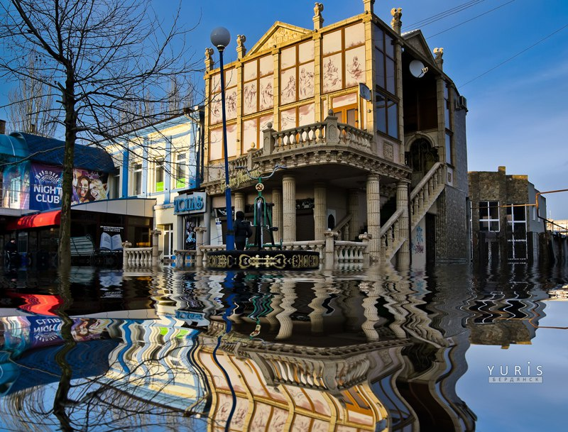 бердянск, потоп, ливень, затопило, вода, ливневки, юрис