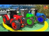Мультфильм про машинки - Учим цвета Тракторы для детей и Человек Паук на цветных ...