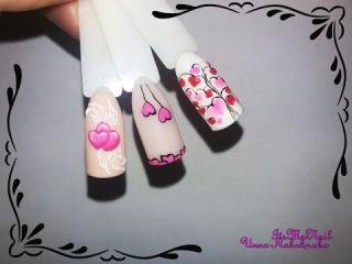 Экспресс дизайн ногтей гель лак nail design Shellac дизайн к 14 февраля