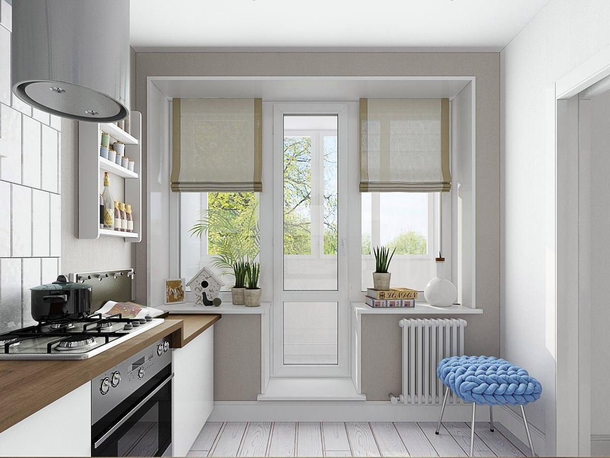 Дверь балкона на кухне фото.