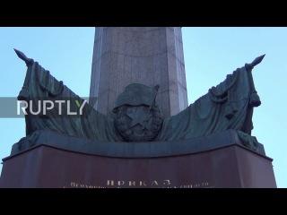 Австрия: Вена Советский Военный Мемориал вандализму с красной краской.