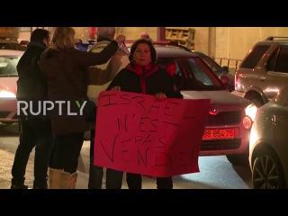 Израиль: Израиль протестуют Парижской мирной конференции за пределами посольства Франции.