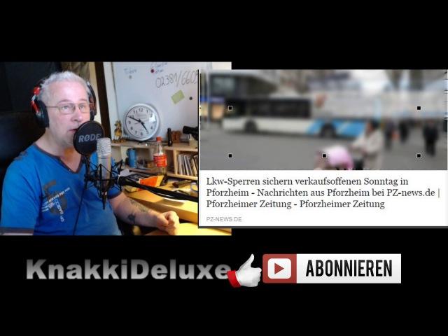 LKW Sperren sichern verkaufsoffenen Sonntag in Pforzheim ( na toll )