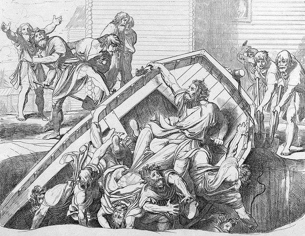 Жестокая месть Ольги древлянам, за убитого мужа.
