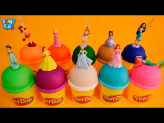 Learn Numbers & Colors with Play-Doh Surprise Eggs with Disney Princesses Jasmine, Ariel, Cinderella