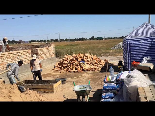 МПС Алматы Дом 10Х12 метров из красного кирпича Фундамент и стены 9 августа 2015 г