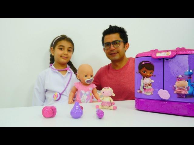 Doktor hasta oyunları Doc McStuffins çantası Dottie doktorculuk oyunu Evcilik oyuncakları