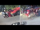 Жесткое ДТП с мотоциклом и авто в замедленной съемке 18+