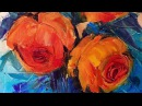 Painting Roses in Oil with a Palette Knife | Рисуем розы мастихином