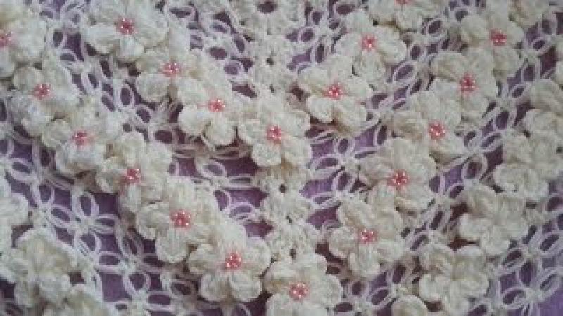 Yakadan başlama üçgen şal yapımı videosu tığ işi /Crochet : Punto en Relieve Combinado