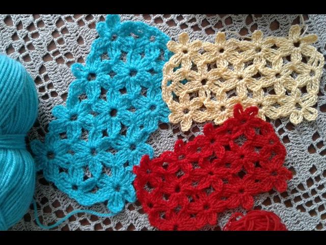 Узор крючком. Безотрывное вязание крючком. Цветочный мотив крючком Сrochet pattern