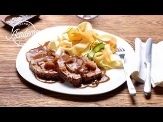 Rôti roulé de porc et pappardelles aux légumes