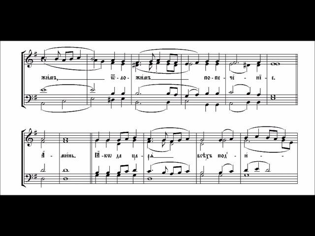 Херувимская песнь. Обиходная мелодия с нотами