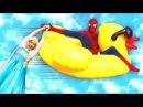 Spiderman Frozen Elsa Fly a Duck! w/ Pink Spidergirl Joker Anna Hulk Rapunzel Batman Kids Toys