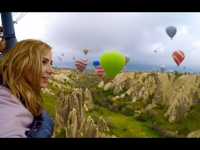 Hot Air Balloon Flight over Cappadocia Turkey GOPRO HERO4 HD Fairy Chimneys, Red Valley