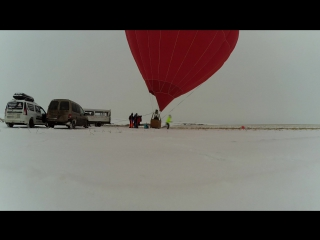 Hot air balloon jumping in cold russian day 3112016