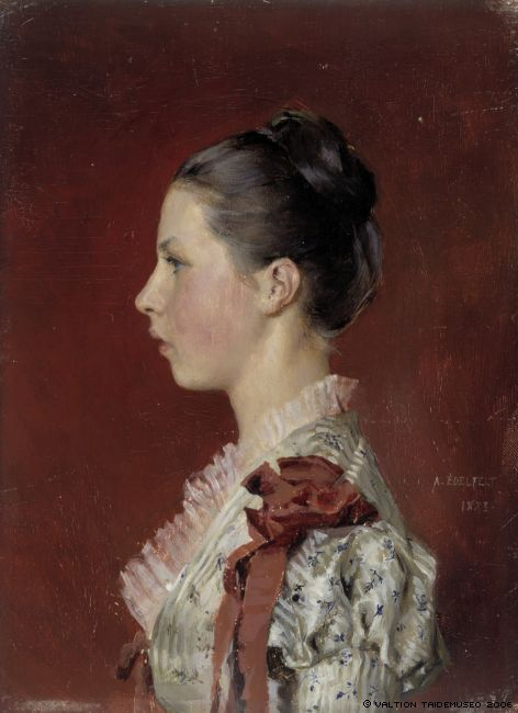 Альберт Эдельфельт Albert Edelfelt (1854-1905) Портрет сестры художника Энни Эдельфельта