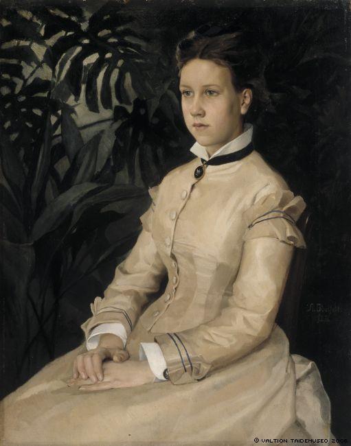 Альберт Эдельфельт Albert Edelfelt (1854-1905) Portrait of the Artist's Sister Ellen Edelfelt Портрет сестры художника Эллен Эдельфельт