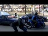 Байкеры на светофоре    Мотоциклы и мотоциклисты  Yamaha  Ktm  Honda  Suzuki  Ducati  Bmw  Kawasaki