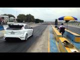 Ford Focus RS blanco Vs Mitsubishi lancer casi turbo picas 1/4 de milla pegaso