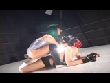 Japanese Mixed Wrestling: Guy in mask destroyed by hot young woman