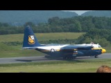 C-130 Fat Albert short field landing over obstacle &amp taxi in reverse at Lynchburg Airshow on 52211