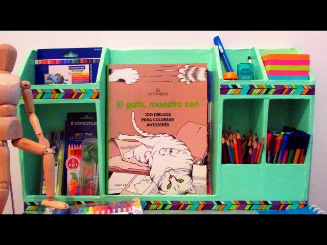 Organizador de escritorio de cartón - DIY
