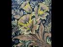 Нарциссы и мимоза на чёрном фоне Роспись разделочной доски