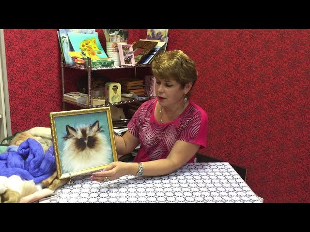 ЖИВОПИСЬ ШЕРСТЬЮ КОТИК / FELTING of PICTURE / HOW TO MAKE A PICTURE of WOOL
