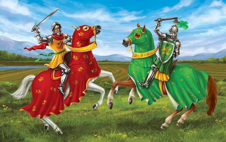 Сражающиеся рыцари на конях: один в красном с мечом, другой в зеленом с топором