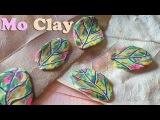 Polymer clay Millefiori cane Foglia autunnale, hoja de oto