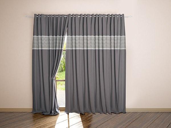 658d86f26 Что касается выбора цвета штор, то здесь есть несколько вариантов: 1.  Подбираем шторы в тон стенам. Если стены однотонные, то лучше подойдут  шторы с узором.