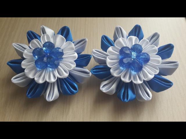 Заколки в синем цвете из атласных лент. Канзаши.