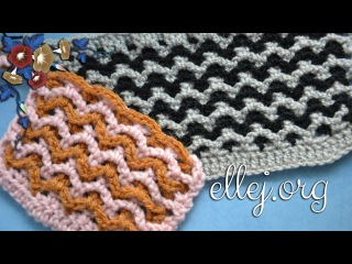 Узор крючком из двух сеточек. The 2 mesh crochet stitch.