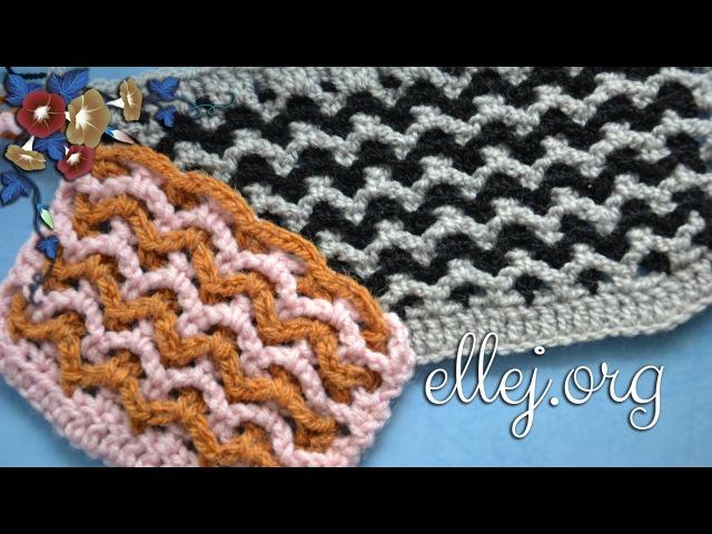 ♥ Узор крючком из двух сеточек для снуда или пледа • МК • 2 mesh crochet stitch • ellej.org