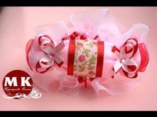 Мастер-класс Канзаши.Ободок на голову.Конфетка Канзаши из атласных лент/Christmas candy kanzashi